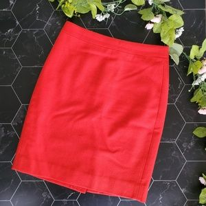 J. Crew Red Wool Blend The Pencil Skirt